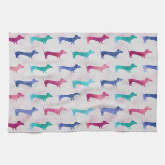 Multi-colored Dachshund Pattern Tea Towel