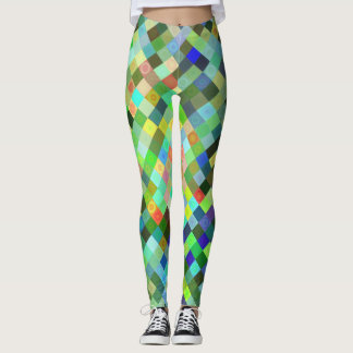 Multi-colored Diamond Pattern Leggings