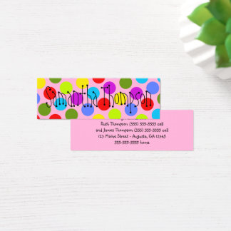 Multi-Colored Dot Kids Contact Info Mini Business Card