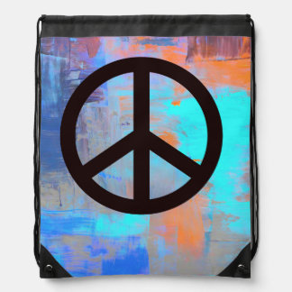 Multi-colored drawstring backpack w/peace symbol