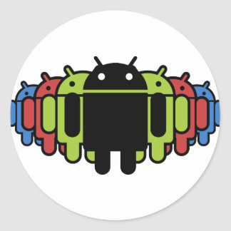 Multi colored Droid Army Classic Round Sticker