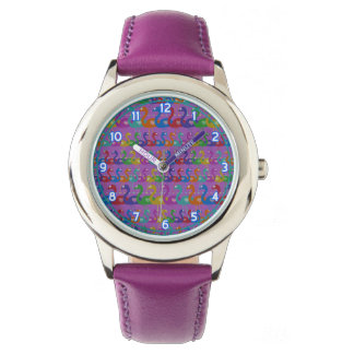 Multi-Colored Flamingo Wrist Watch with Hearts