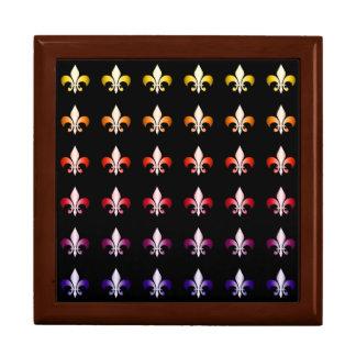 Multi Colored Fleur De Lis Black Pattern Gift Box