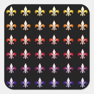 Multi Colored Fleur De Lis Black Pattern Square Sticker