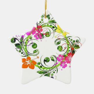 Multi colored floral design christmas ornament