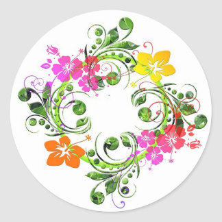 Multi colored floral design classic round sticker