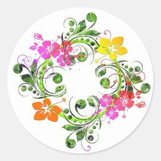 Multi colored floral design round sticker