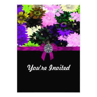 Multi-colored floral personalized invites