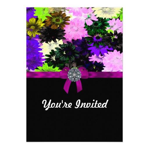 Multi-colored floral personalized invites