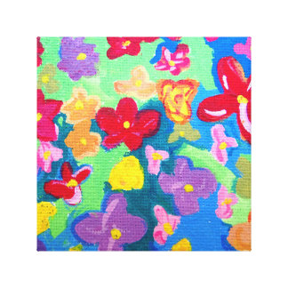 Multi Colored Flowers Gallery Wrapped Canvas