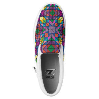 Multi-Colored Geometric Design Slip-On Shoes