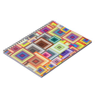 Multi-colored Geometric Squares Spiral Notebook