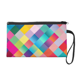 Multi Colored Geometric Wristlet Clutches