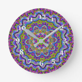 Multi-colored Kaleidoscope Round Clock
