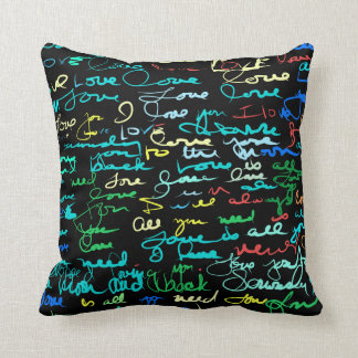 Multi Colored Love Words on Black Grunge Graffiti Cushion