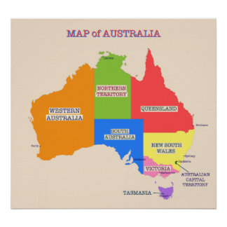 Multi-Colored Map of Australia Poster