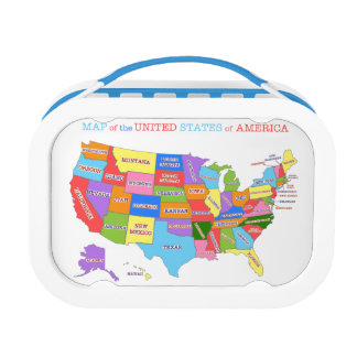 Multi-Colored Map Of the United States Lunchbox