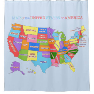 Multi Colored Map Of The United States Shower Curtain