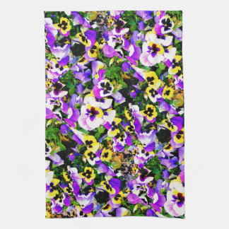 multi-colored pansy flowers hand towels