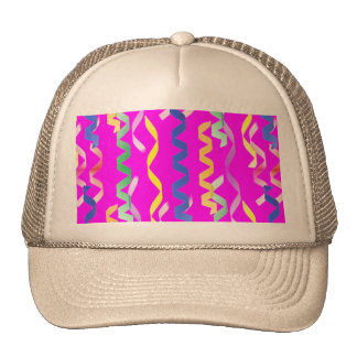 Multi-colored party streamers on a neon pink mesh hat
