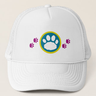 Multi-Colored Paw Prints New Year's Trucker Hat