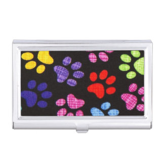 Multi-Colored Paws Business Card Holder