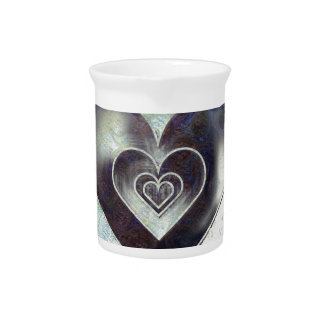 Multi Colored Pencil Sketching Abstract Heart Pitcher