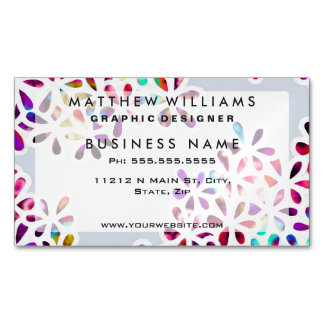 Multi-Colored Petal Flowers Magnetic Business Card