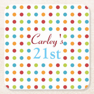 Multi-Colored Polka Dot Square Paper Coaster
