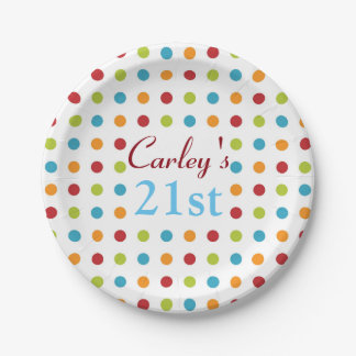 Multi-Colored Polka Dots Paper Plate