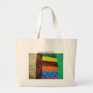 Multi-colored Quilt Block, I Love Quilting Jumbo Tote Bag