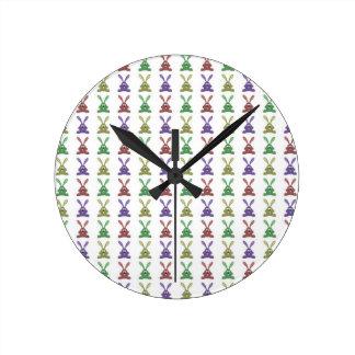 """""""Multi Colored Rabbits Design & Pattern"""" Round Clock"""