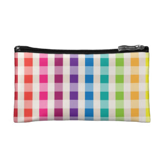 Multi-Colored Rainbow Candy gingham pattern Cosmetic Bags