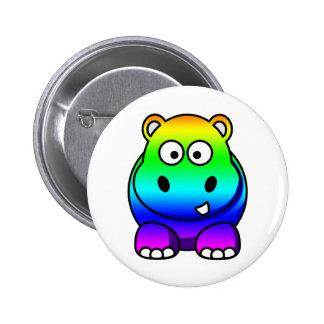 Multi Colored , Rainbow Hippo 6 Cm Round Badge
