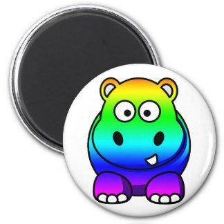 Multi Colored , Rainbow Hippo 6 Cm Round Magnet