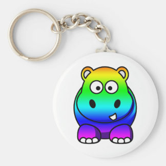 Multi Colored , Rainbow Hippo Basic Round Button Key Ring
