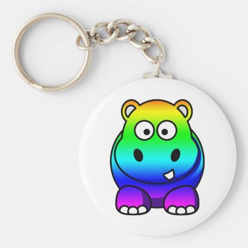 Multi Colored , Rainbow Hippo Keychains