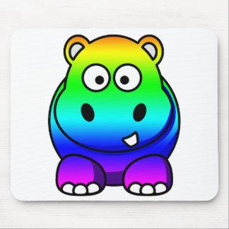 Multi Colored , Rainbow Hippo Mouse Mat