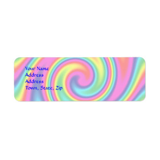 Multi-Colored Rainbow Twirl Return Address Label