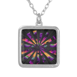 multi-colored rays square pendant necklace
