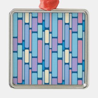 Multi Colored Retro Art Silver-Colored Square Decoration