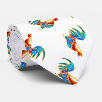 multi colored roosters on white tie