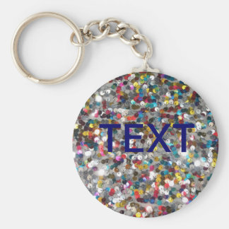 Multi Colored Sequin Customize Add Text Basic Round Button Key Ring