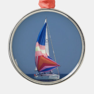 Multi Colored Spinnaker Silver-Colored Round Decoration