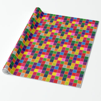 Multi Colored Squares and Stripes Girly Wrapping Paper