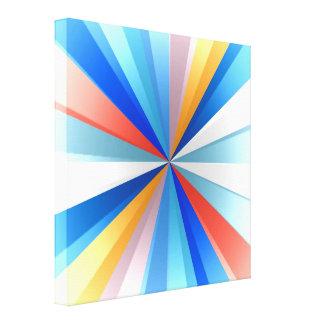 Multi Colored Stripey Sun Burst Art Design Stretched Canvas Print
