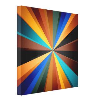 Multi Colored Stripey Sun Burst Light Art Design Canvas Prints