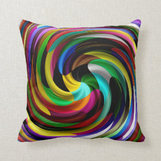 Multi Colored Swirl Retro Art Design Abstract Cushion