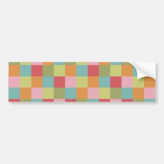 Multi Colored Tiles Quilt Squares Colorful Plaid Bumper Sticker