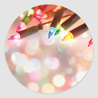 Multi colored twinkle lights classic round sticker